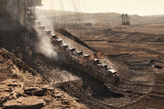 Detail of extractive machines in opencast mine Royalty Free Stock Photography