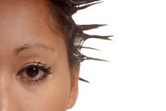 Detail eye and hair Royalty Free Stock Image