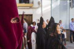 Detail of eye of penitence during a Holy week procession Stock Photography