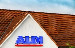 Detail on the façade at ALDI discount supermarket. TEMPLIN, GERMANY - AUG 31, 2017: Detail on the façade at ALDI discount supermarket in Templin, Uckermark royalty free stock image