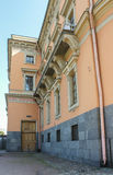 Detail of façade of the Mikhailovsky Castle. Historical and sightseeing and tourist sites in St. Petersburg stock image