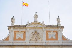 Façade of the Royal Palace of Aranjuez in Madrid, Spain. Detail of the façade in the Royal Palace of Aranjuez, world heritage site in Madrid, Spain Stock Photos