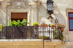 Detail of a facade 9. A beautiful simple composition with plants, black railing and sunlight Royalty Free Stock Photos
