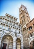 Facade and bell tower of Lucca Cathedral, Italy Royalty Free Stock Images