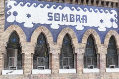 Detail facade box office of bullring,Monumental,sign Sombra, sha. Dow. Barcelona Stock Photos