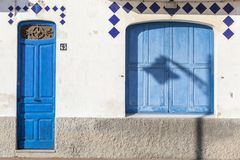 Detail facade building, mediterranean colors typical maritime ho Royalty Free Stock Photo