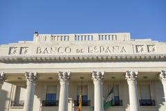 Detail facade building neo classic style banco de españa,histo. Ric center of Malaga, Spain Royalty Free Stock Image