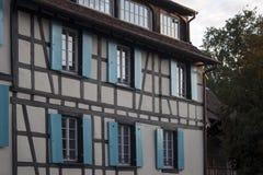 Detail facade building. Strasburg, France royalty free stock photo
