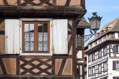 Detail facade building. Strasburg, France stock images