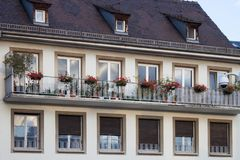 Detail facade building. Strasburg, France stock photos