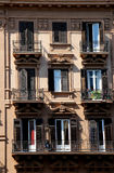 Detail of the facade of a building of the xix century. In palermo, sicily, portrait cut Stock Image