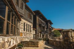Detail of the facade of buildings in the town of Sozopol Royalty Free Stock Images