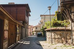 Detail of the facade of buildings in the town of Sozopol Royalty Free Stock Image