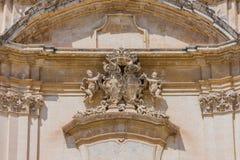 Detail of the facade of the Church. `Madonna Del Carmine` - Noto, Sicily Royalty Free Stock Photos
