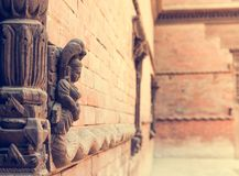 Detail of facade on Durbar square in Kathmandu. Royalty Free Stock Photography