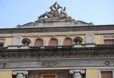 Detail of the facade of an elegant building of Trieste in Friuli Venezia Giulia (Italy) Royalty Free Stock Photos