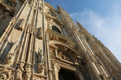 Detail of Facade of Gothic Cathedral in Milan Italy Stock Image