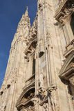 Detail of Facade of Gothic Cathedral in Milan Italy Royalty Free Stock Images