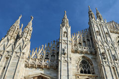 Detail of Facade of Gothic Cathedral in Milan Italy Stock Images