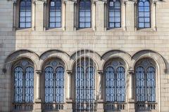 Detail facade historic building of University, square, Plaza Uni royalty free stock photos