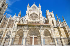 Detail of the facade of Leon Cathedral, Castilla y Leon, Spain. Royalty Free Stock Photo