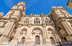 Detail of the facade of Malaga Cathedral, Malaga, Andalusia, Spain. Stock Images