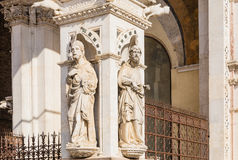 Detail of the facade of a marble chapel Cappella di Piazza in Siena Stock Images
