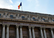 Detail of facade of Military Club (Cercul Militar), Bucharest, R. Corinthian columns and the Romanian flag on the Cercul Militar National (National Military Club stock photo