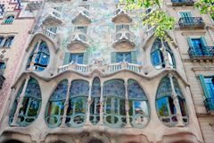 Detail of the facade of the modernist house called Casa Batllo, located on the street called L`Eixample, designed by the stock image