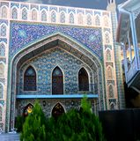Detail of the facade of the mosque with ornament of blue Royalty Free Stock Image