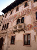 Detail of the facade of the old building decorated in Trento   Royalty Free Stock Photos