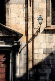 Detail of the facade of an old church. With lamppost in palermo, sicily, portrait cut Royalty Free Stock Photos