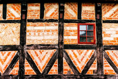 Detail of facade of old house made of wood and bricks in Malmo Royalty Free Stock Images