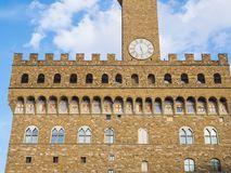 Detail of Facade of Old Palace called Palazzo Vecchio in Florence Italy stock images