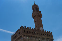 Detail of Facade of Old Palace called Palazzo Vecchio at the Piazza della Signoria in Florence, Tuscany, Italy Royalty Free Stock Photo