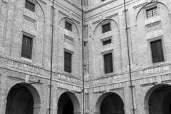 Parma: Pilotta Palace facade detail. Black and white photo royalty free stock photography