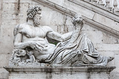 Detail of facade of Palazzo Senatorio on the Capitol hill Royalty Free Stock Photography