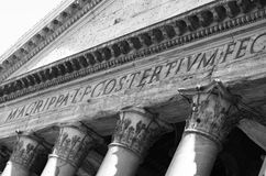 Detail of the facade of Pantheon in Rome Royalty Free Stock Images