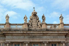 Detail of the facade of Royal Palace of Madrid Stock Images
