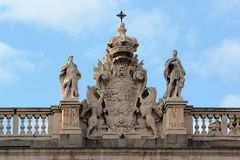 Detail of the facade of Royal Palace of Madrid Stock Photos