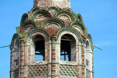 Detail of facade russian ruin church Stock Photography