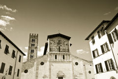 Detail of the facade of San Lorenzo church (Italy-Tuscany-Lucca) Stock Photos
