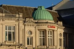 Detail of the facade of Spa casino building in neo classical style. Detail of the facade of the casino of the city of Spa on a sunny day, the oldest casino Stock Image