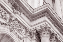 Detail on the Facade of St Pauls Cathedral Church, London,. England, UK in Black and White Sepia Tone Royalty Free Stock Photos