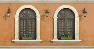 Detail of a facade with two arched windows Stock Image