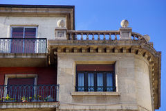 Detail of a facade 3. Detail of a typical Asturian building with sunlight and blue sky Royalty Free Stock Photography