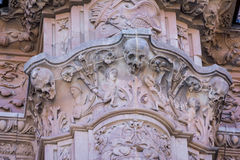 Detail of the facade of University of Salamanca in plateresque style and the famous frog on a skull. The Old city of Salamanca is declared by UNESCO a World Stock Photos