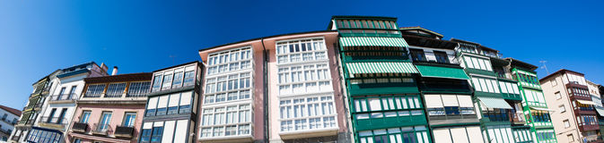 Detail of facades in Lekeitio. Spanish: Lequeitio - a town and municipality located in the province of Biscay, in the Spanish Autonomous Community of Basque Stock Image