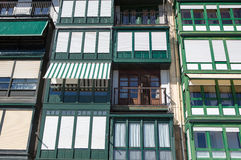Detail of facades in Lekeitio. Spanish: Lequeitio - a town and municipality located in the province of Biscay, in the Spanish Autonomous Community of Basque Stock Photos