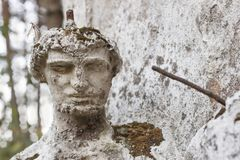 Detail of the face smashed historic statues. Torso of ancient statues. Lost sculpture. Stock Photo